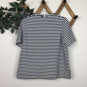 Lafayette 148 Stand-Collar Striped Blouse Top